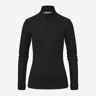 KJUS FEEL HALF ZIP WOMENS TOP - BLACK MELANGE