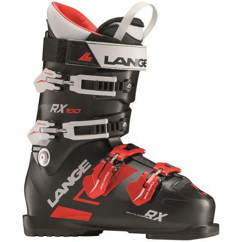 LANGE RX100 MENS SKI BOOTS - BLACK/RED 25.5