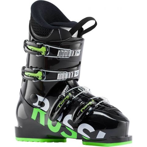 ROSSIGNOL COMP J4 KIDS SKI BOOTS - BLACK/GREEN - SIZE 25.5