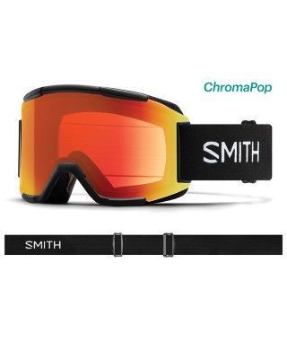SMITH SQUAD MENS GOGGLES - BLACK WITH CHROMAPOP EVERYDAY RED MIRROR LENS  AND YELLOW  LENS