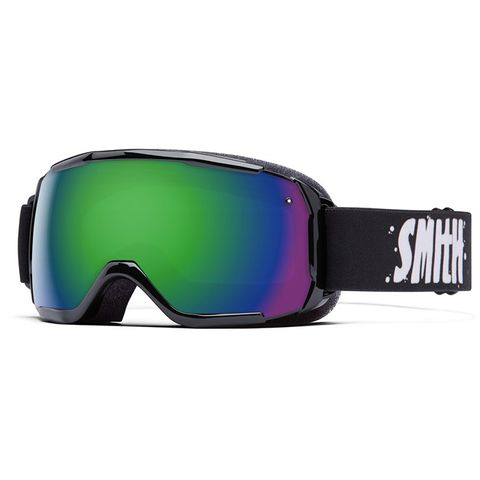SMITH GROM KIDS GOGGLES - BLACK WITH GREEN SOL-X MIRROR LENS
