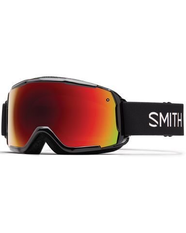 SMITH GROM KIDS GOGGLES - BLACK WITH RED SOL-X LENS