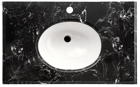 LUX Stone Top Black Marble 600