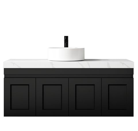 Hampton Matte Black Vanity 1200mm