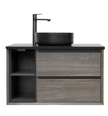 Amazon Grey with Left Hand Shelves Vanity 900