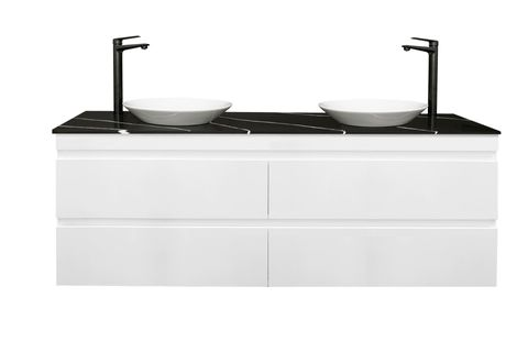 1200 Gloss White WH Double bowl With Stone Top
