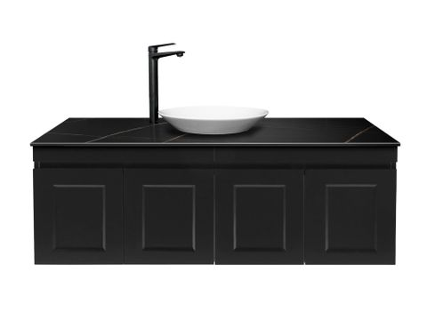 Hampton Matte Black WH 1200 Double bowl Vanity with Stone Top