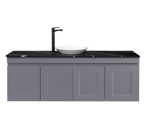 Hampton Matte Grey WH 1200 Double bowl Vanity with Stone Top
