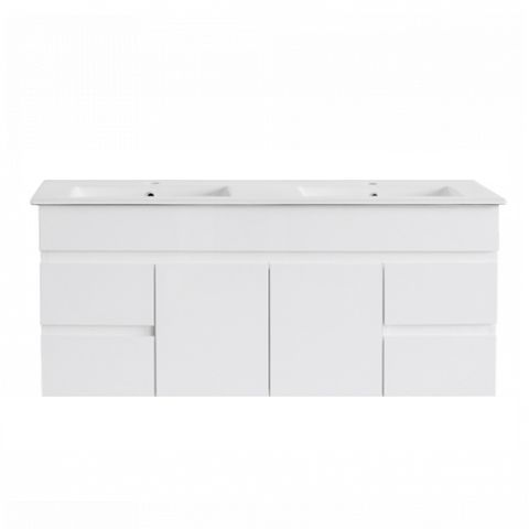 PVC 1200x460 Wall Hung Double Bowl Vanity