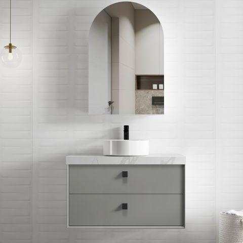 BOSTON Matte Grey 900x460x550 Wall Hung  Vanity