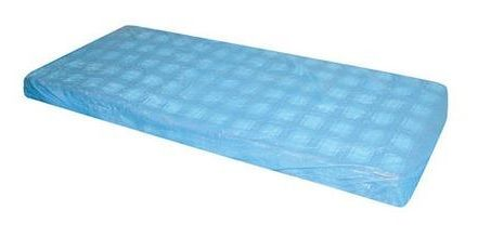 MATTRESS COVER BLUE PLASTIC FITTED DISP