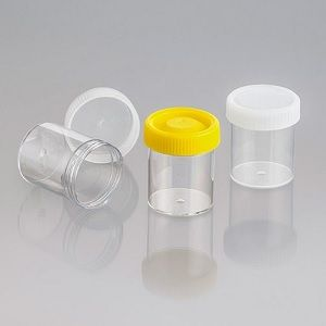 JAR URINE FLAT SCREW YELLOW CAP 70ML