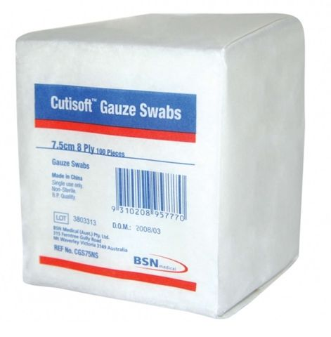 GAUZE SWAB CUTISOFT 8PLY 7.5CM x 7.5CM