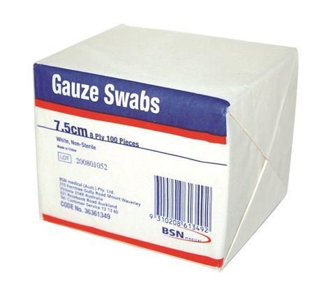 GAUZE SWAB 8PLY 7.5CM x 7.5CM