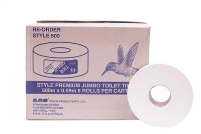 TOILET ROLL JUMBO 90MM x 500M 1PLY