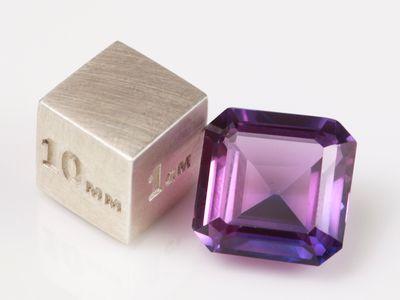 Synthetic Sapphire Purple 12mm Square Emerald Cut (S)