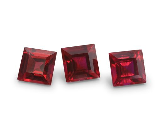 Hydrothermal Ruby 6mm Square Carre (S)