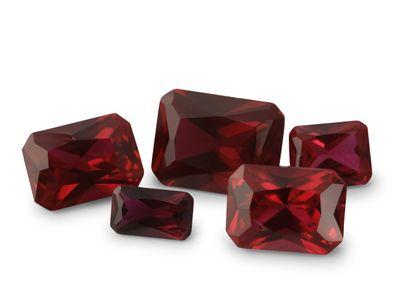 Syn Ruby Dark Red 8x6mm Emerald Cut Radient (S)
