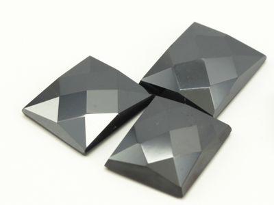 Haematite 12x10mm Rect CHK Top Flat Back (N)