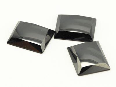 Haematite 12x10mm Rect Facet Edge Flat Back (N)