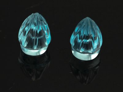 Topaz Baby Blue 6.5x6x5mm Fluted Drop Pair (T)