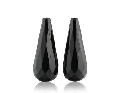 Onyx Briolette 25x10mm Pair (T)