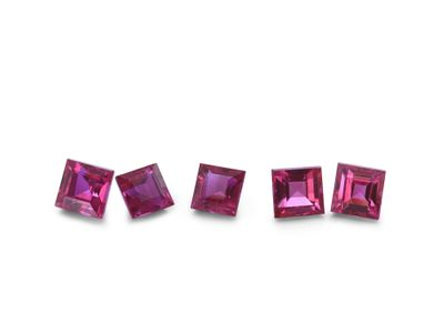 Ruby 2.5mm Sq/Carre Good Pink Red (E)