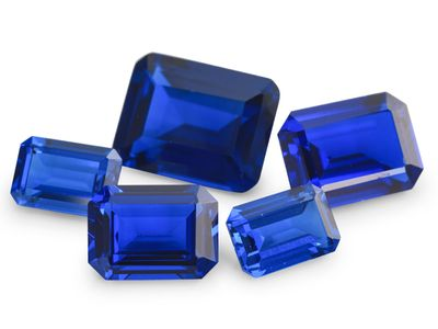 Synthetic Bright Blue Spinel 14x12mm Emerald Cut (S)