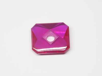 Ruby Syn Pink Red Buff-Top 14x12mm Emerald Countersunk (S)