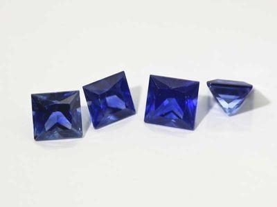 Ceylon Sapphire 4mm Princess cut Good Quality (E)