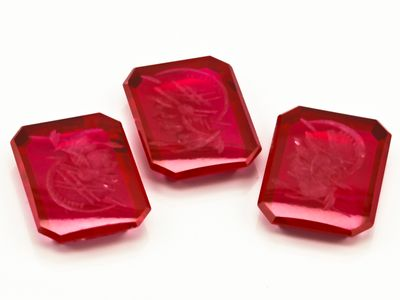 Syn Ruby Pink Red 16x12mm Oct BT Intaglio (S)