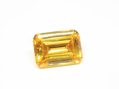 Cubic Zirconia Yellow 16x12mm Emerald Cut (S)