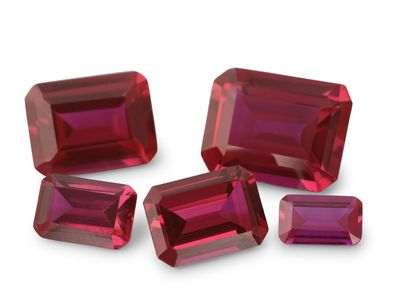 Synthetic Ruby Pink 10x8mm Emerald Cut (S)