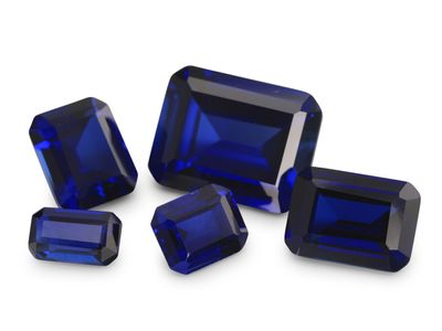 Synthetic Blue Sapphire 9x7mm Emerald Cut (S)