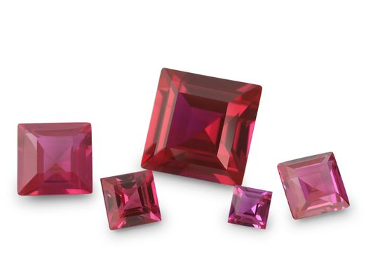 Synthetic Ruby Pink Colour 15mm Square (S)
