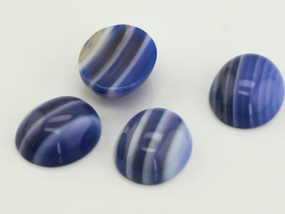 Dyed Banded Blue & White Agate 12x10mm Oval Cabochon (T)