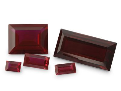 Synthetic Ruby Dark Red 12x6mm Baguette (S)