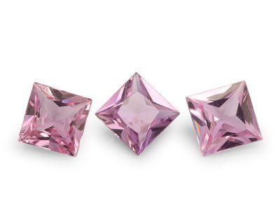 Pink Sapphire 4.25mm Princess Cut Light Pink (E)
