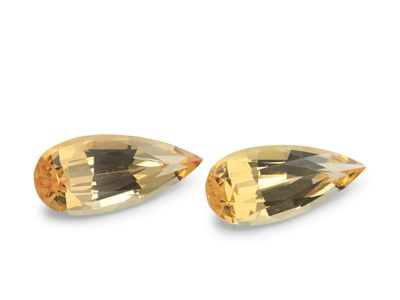 Yellow Topaz 14.1x6.30mm Pear. Matching Pair (N)