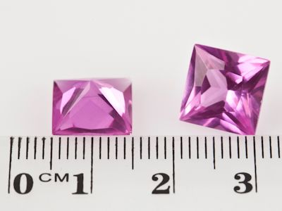 Synthetic Sapphire Pink 10mm Square Princess (S)