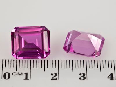 Synthetic Sapphire Pink 14x12mm Emerald Cut (S)