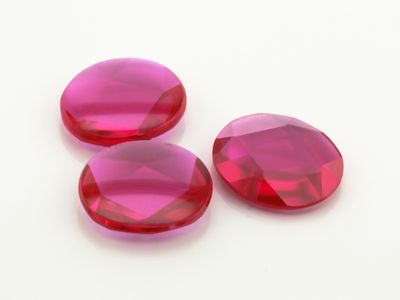Ruby Syn Pink Red Buff-Top 14x12mm Oval (S)
