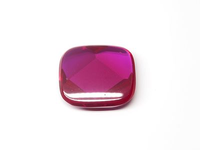 Ruby Syn Pink Red Buff-Top 14x12mm Cushion (S)