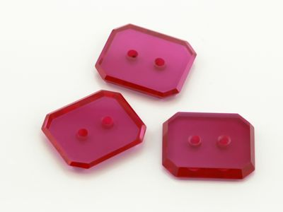 Syn Ruby Pink 14x12mm Emerald BT Double Drilled Hole Flat Back (S)
