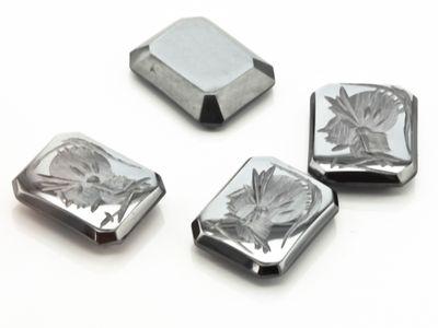 German Cut Haematite 10x8mm Octagonal Intaglio (N)