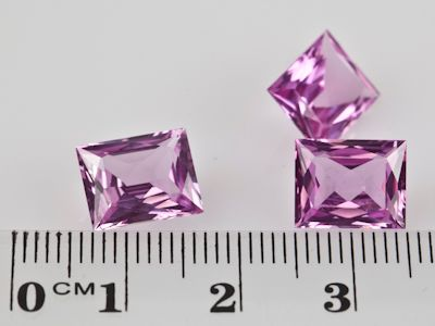 Synthetic Sapphire Pink 10x8mm Baguette (S)