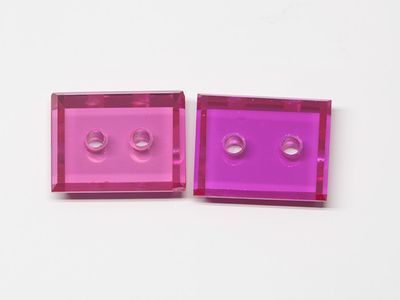 Syn Ruby Pink 10x8mm Rect BT Double Drilled Hole (S)
