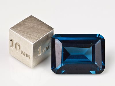 Synthetic Blue Spinel Zircon 16x12mm Emerald Cut (S)