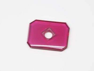 Ruby Syn Pink Red Buff-Top 16x12mm Emerald Countersunk (S)