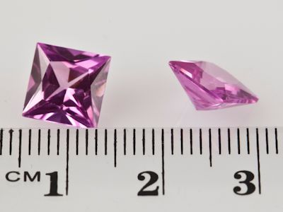 Synthetic Sapphire Pink 8mm Square Princess(S)